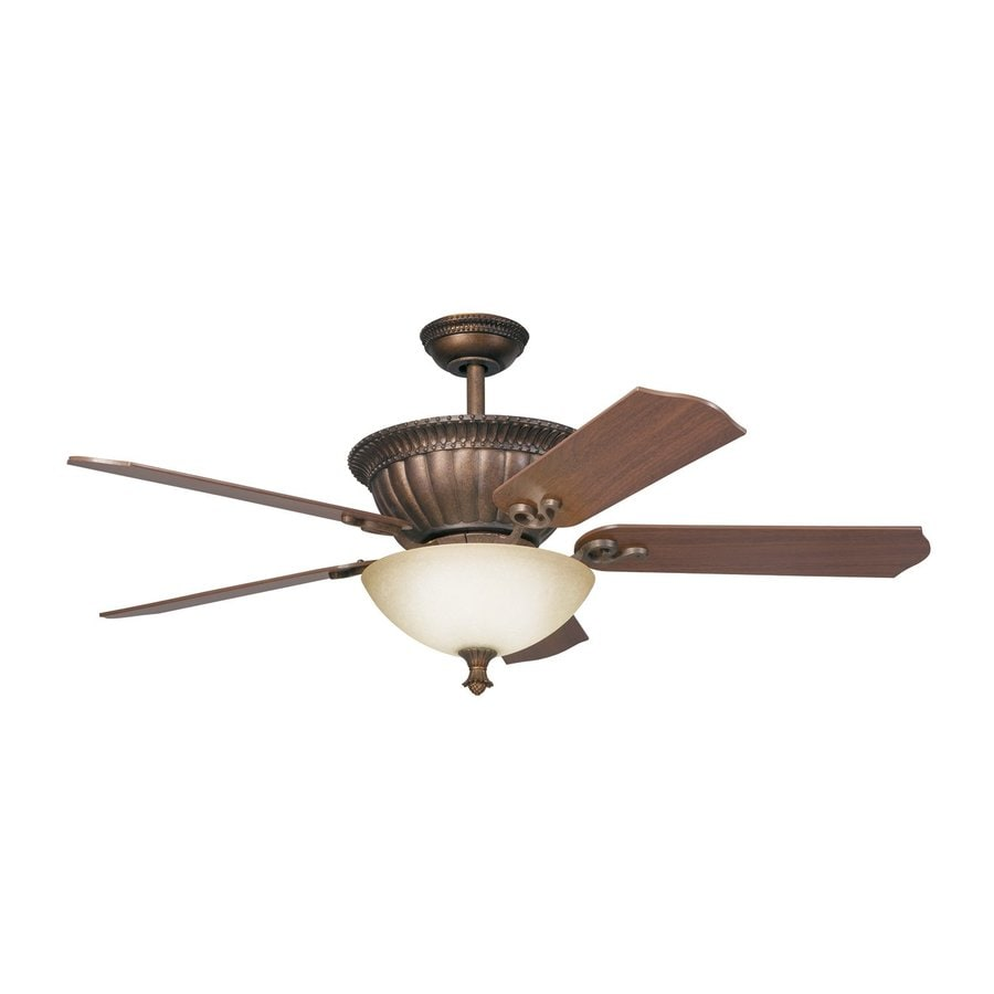 Kichler Lighting Larissa 52-in Tannery Bronze/Gold Downrod Mount Indoor Ceiling Fan with Light Kit and Remote (5-Blade)