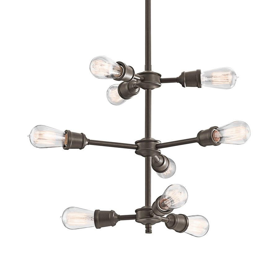 Kichler Lighting Lucien 26-in 9-Light Olde Bronze Industrial Tiered Chandelier