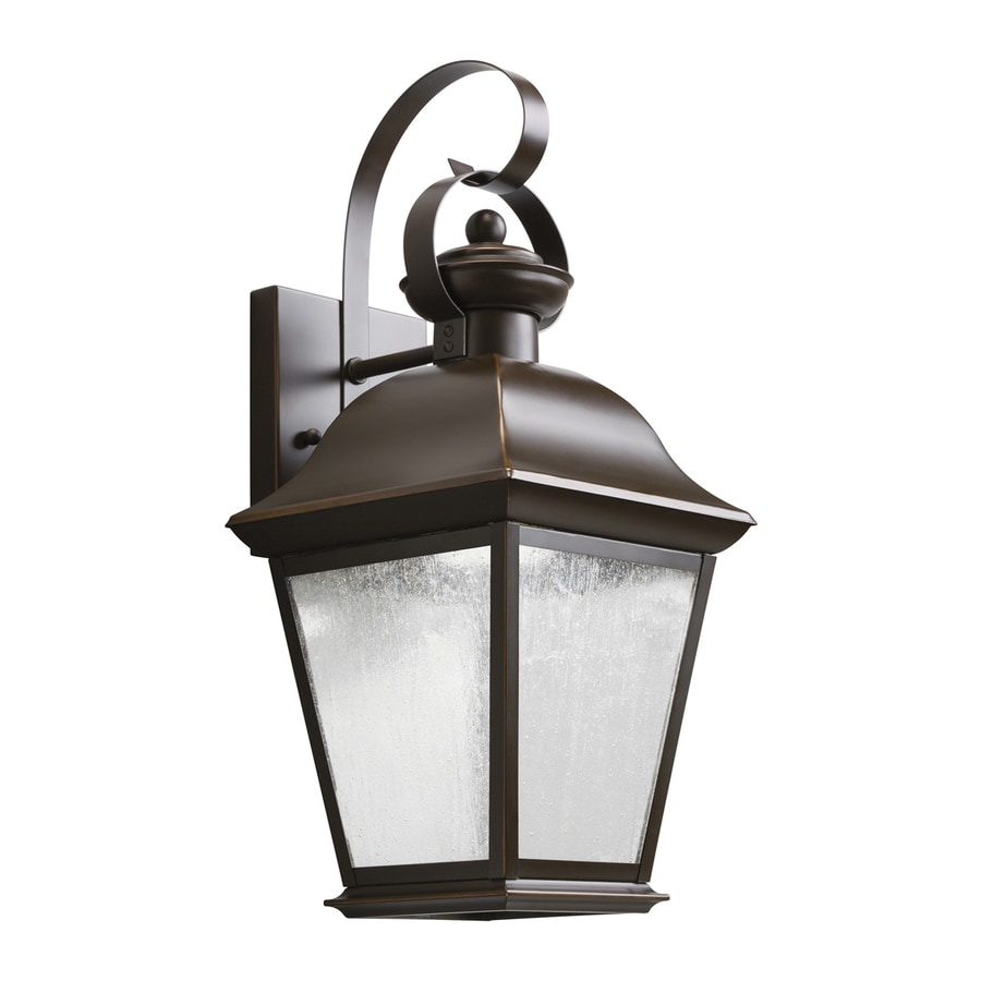 Outdoor Wall Light Fixtures Lowes : Shop Kichler Mount Vernon 16.75-in H LED Olde Bronze Outdoor Wall Light at Lowes.com