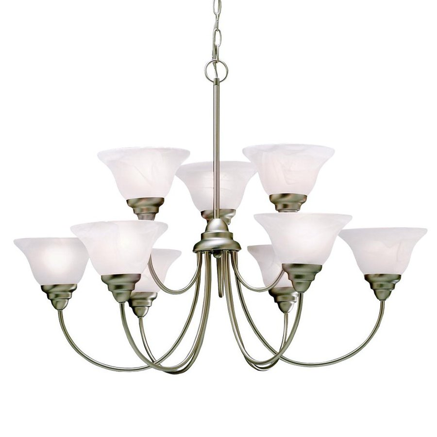 Kichler Lighting Telford 33.5-in 9-Light Brushed Nickel Country Cottage Alabaster Glass Tiered Chandelier