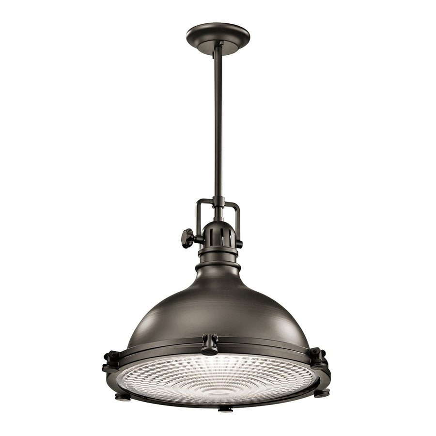 Kichler Hatteras Bay 18-in Olde Bronze Industrial Single Ribbed Glass Warehouse Pendant