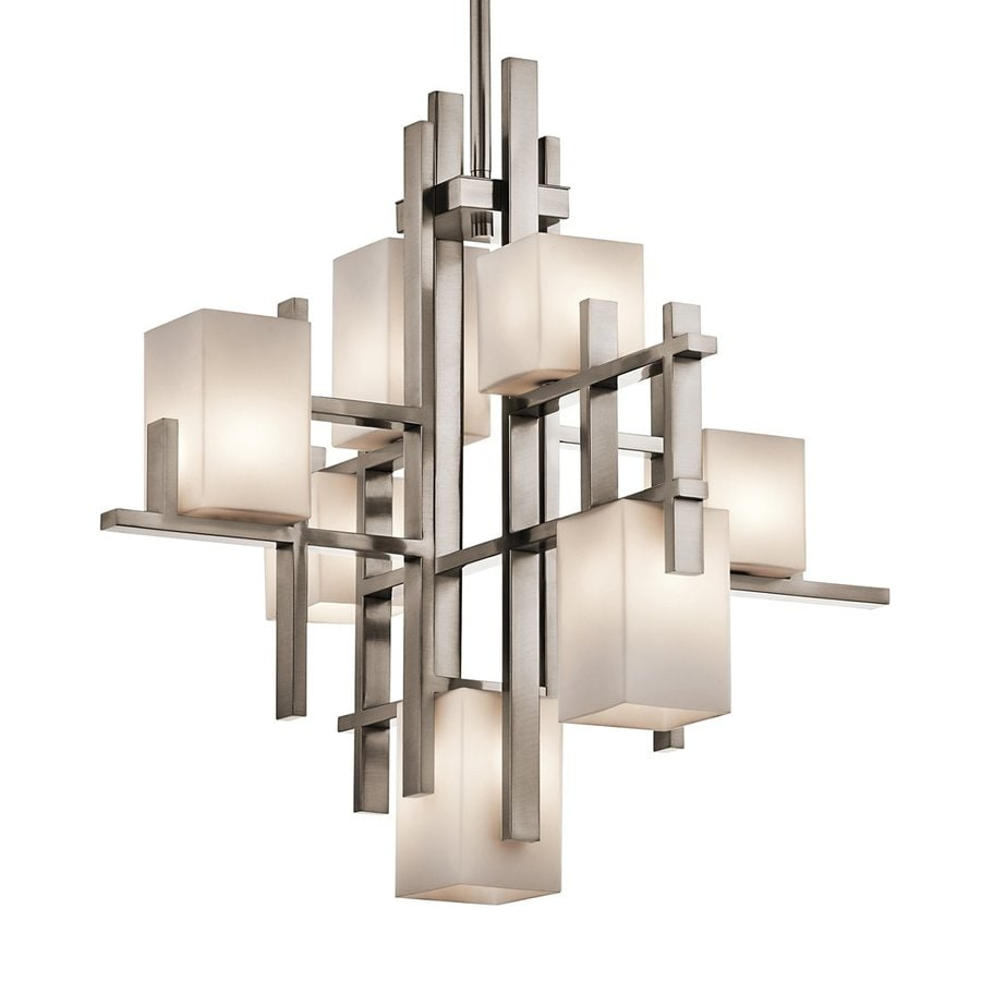 Kichler City Lights 23.5-in 7-Light Classic Pewter Industrial Etched Glass Abstract Chandelier