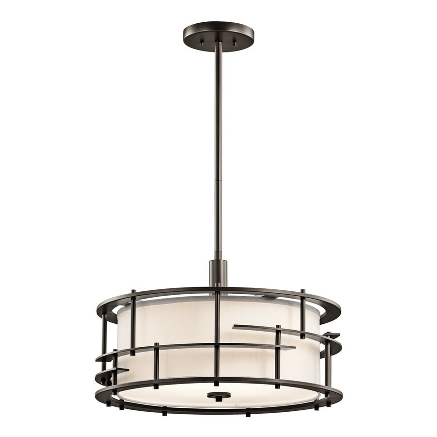 Kichler Lighting Tremba 20-in Olde Bronze Craftsman Single Etched Glass Drum Pendant