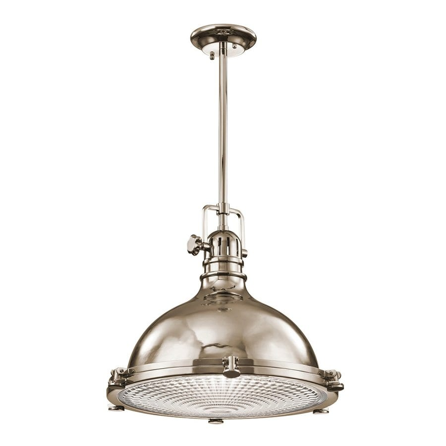 Kichler Lighting Hatteras Bay 18-in Polished Nickel Industrial Single Ribbed Glass Warehouse Pendant