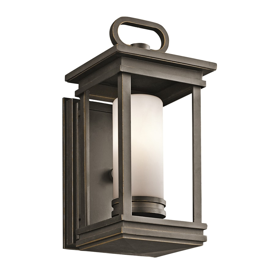 Shop kichler south hope h rubbed bronze outdoor for Outdoor porch light fixtures