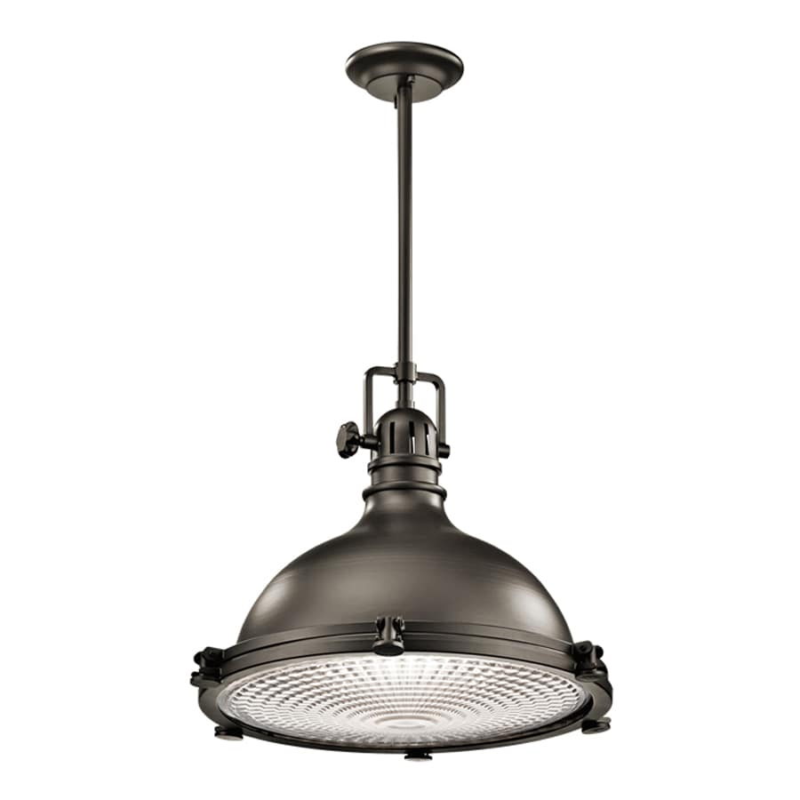 Kichler Lighting Hatteras Bay 23.75-in Olde Bronze Industrial Hardwired Single Ribbed Glass Warehouse Pendant