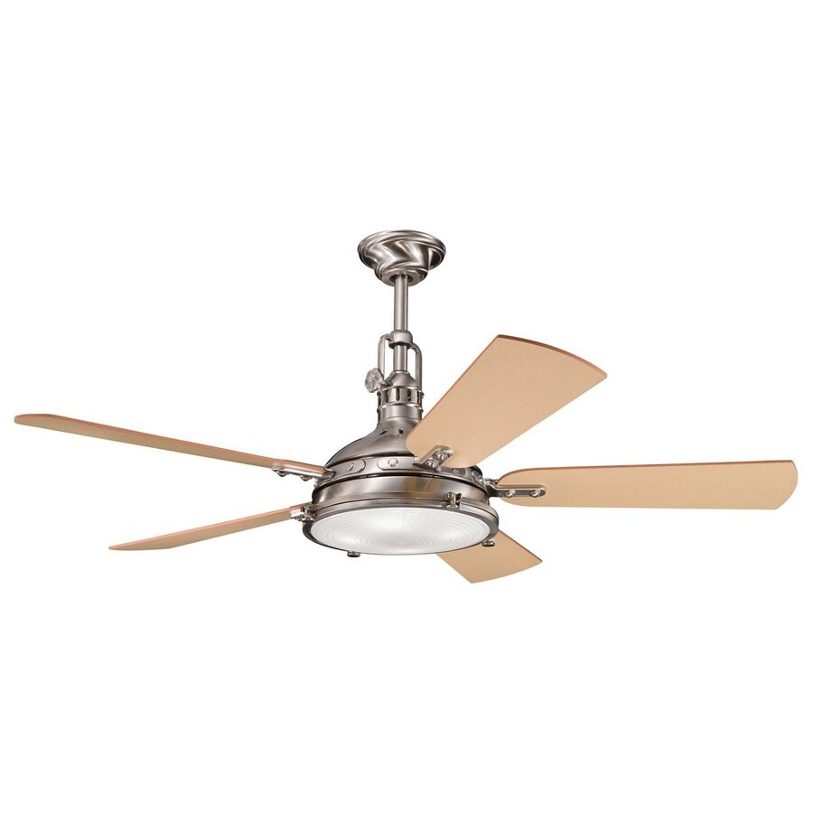 Kichler Hatteras Bay 56 In Brushed Stainless Steel Indoor Ceiling Fan With Light Kit And