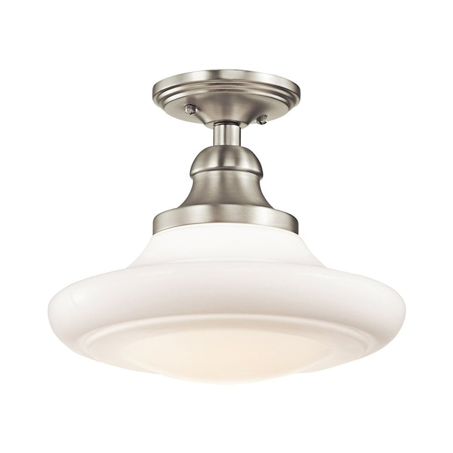 Kichler Keller 12-in W Brushed Nickel Semi-Flush Mount Light