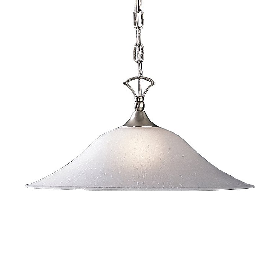 Kichler Hastings 17.5-in Brushed Nickel Country Cottage Hardwired Single Seeded Glass Dome Pendant