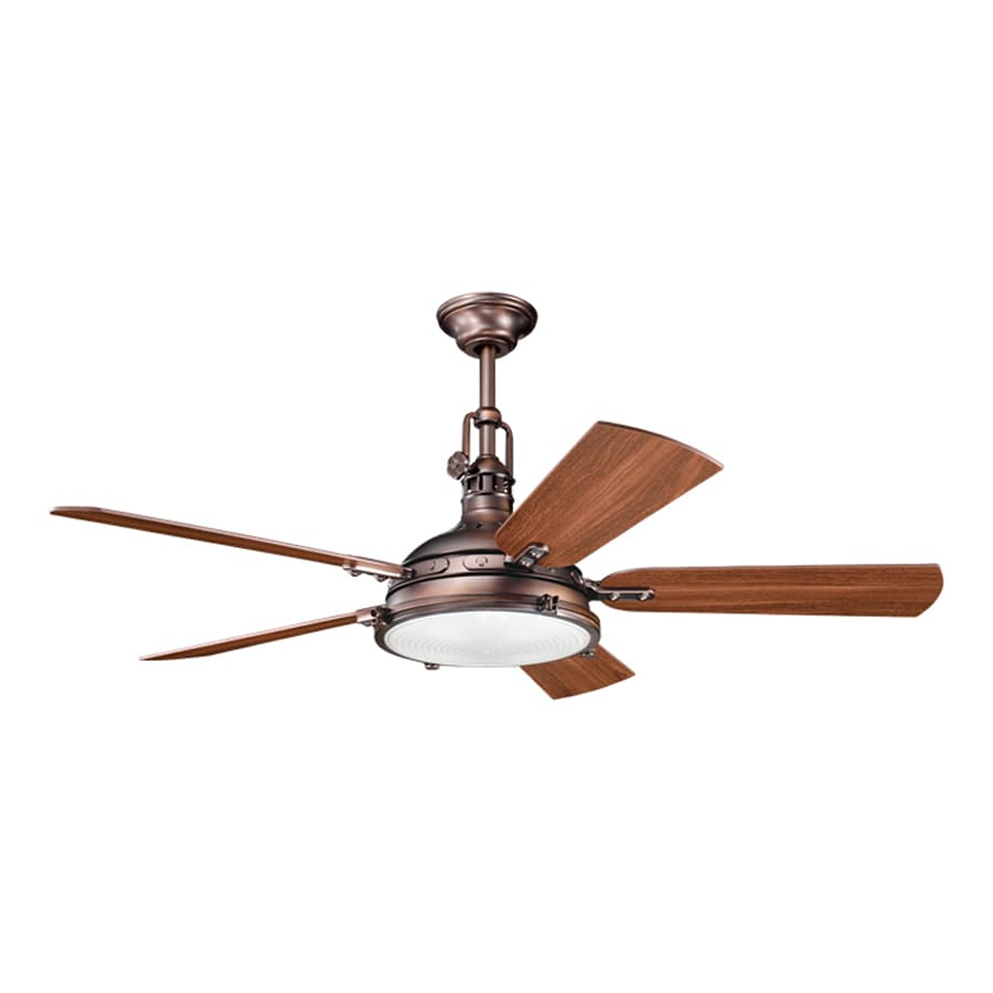 Kichler Lighting Hatteras Bay 56-in Oil Brushed Bronze Downrod or Close Mount Indoor Ceiling Fan with Light Kit and Remote (5-Blade)