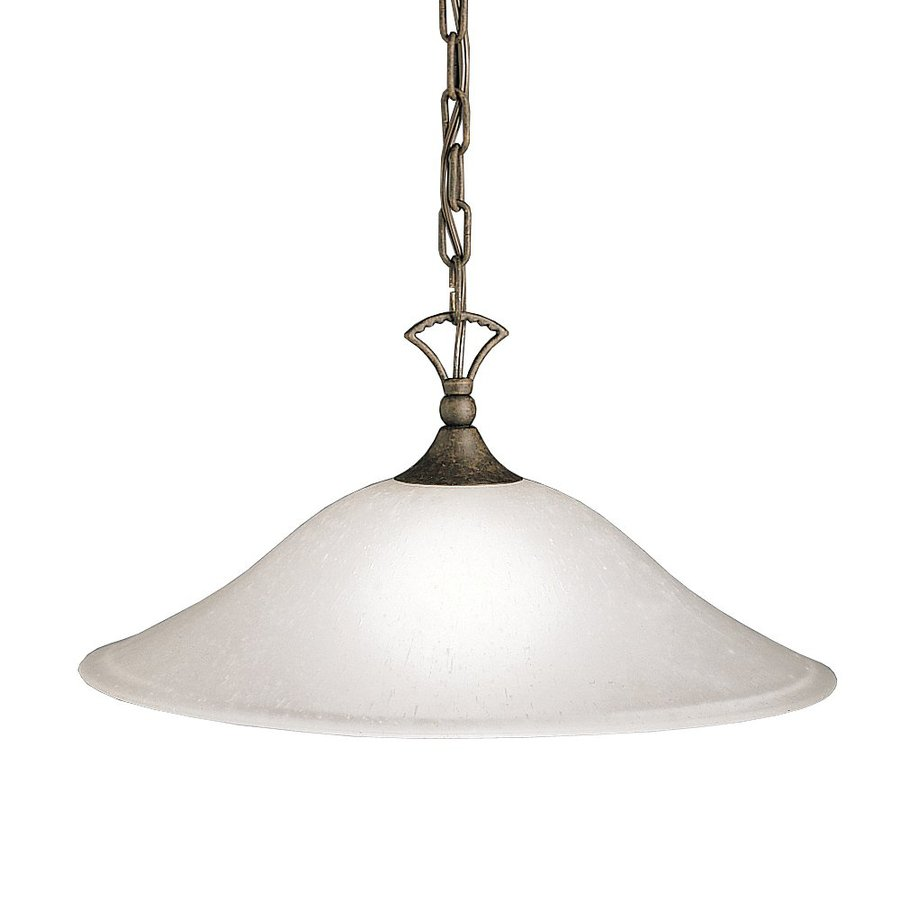 Kichler Hastings 17.5-in Tannery Bronze Country Cottage Hardwired Single Seeded Glass Dome Pendant