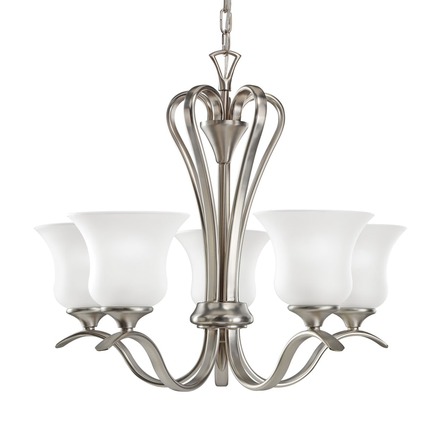 Kichler Wedgeport 21.5-in 5-Light Brushed Nickel Country Cottage Hardwired Etched Glass Shaded Chandelier