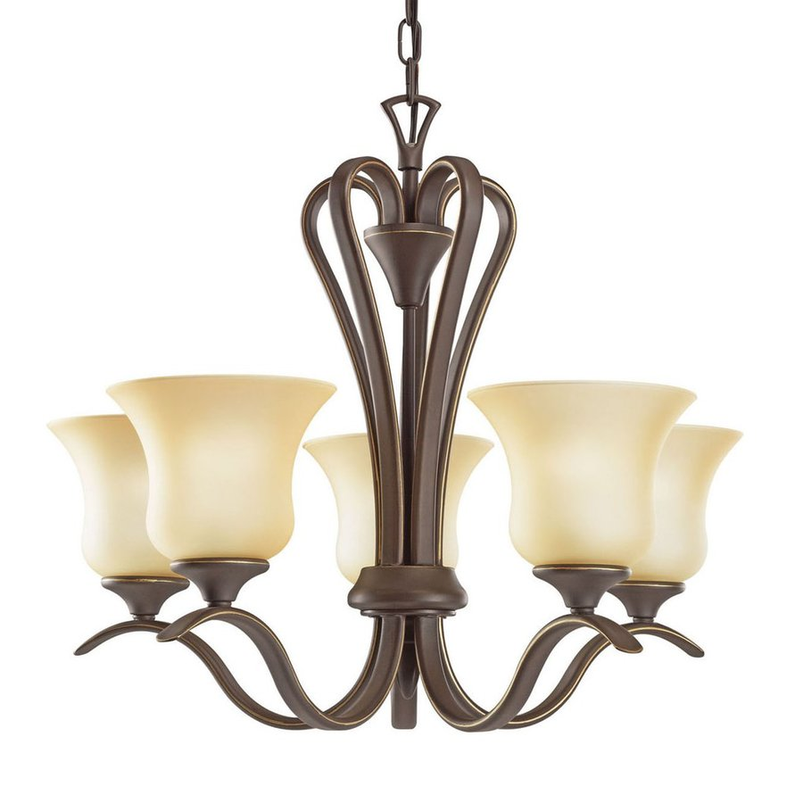 Kichler Wedgeport 21.5-in 5-Light Olde Bronze Country Cottage Etched Glass Shaded Chandelier