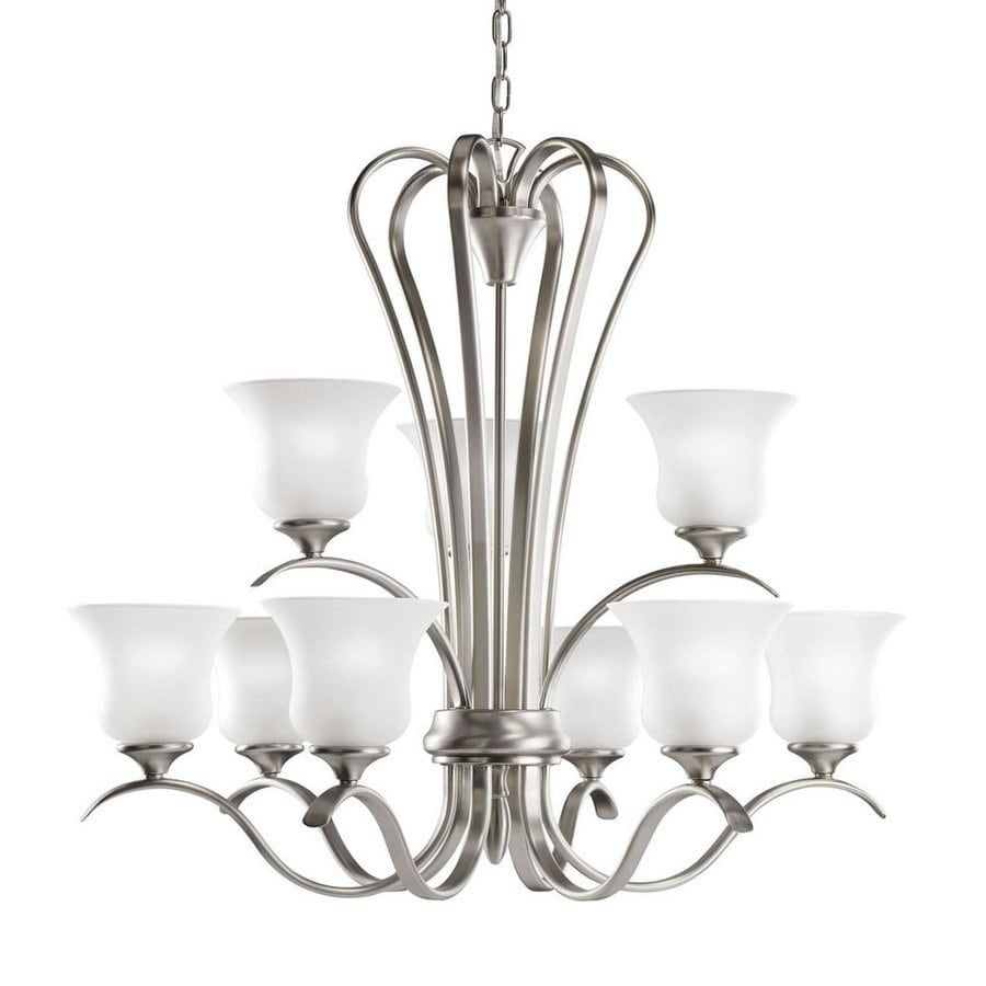 Kichler Lighting Wedgeport 32-in 9-Light Brushed Nickel Country Cottage Etched Glass Tiered Chandelier
