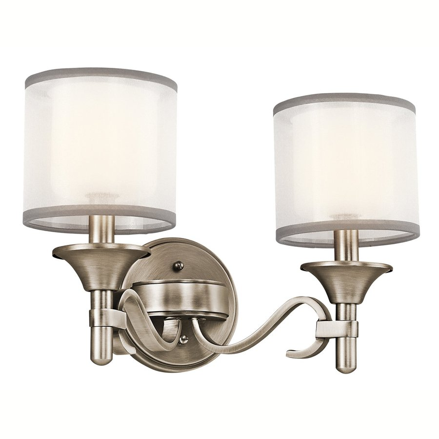 Kichler Lacey 2-Light 10-in Antique Pewter Drum Vanity Light