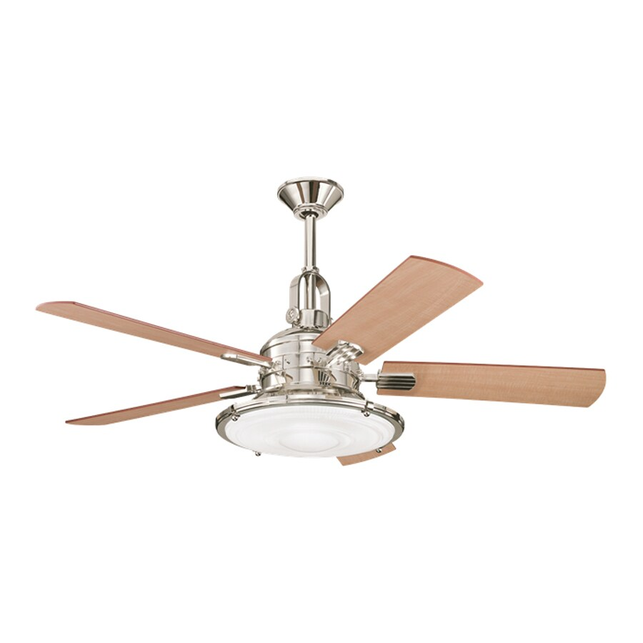 Shop kichler kittery point 52 in polished nickel indoor downrod kichler kittery point 52 in polished nickel indoor downrod mount ceiling fan with light kit mozeypictures Image collections