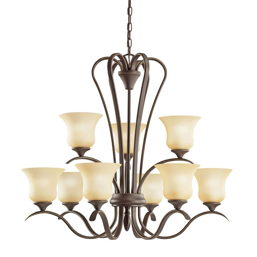 Kichler Lighting Wedgeport 32-in 9-Light Olde Bronze Country Cottage Etched Glass Tiered Chandelier