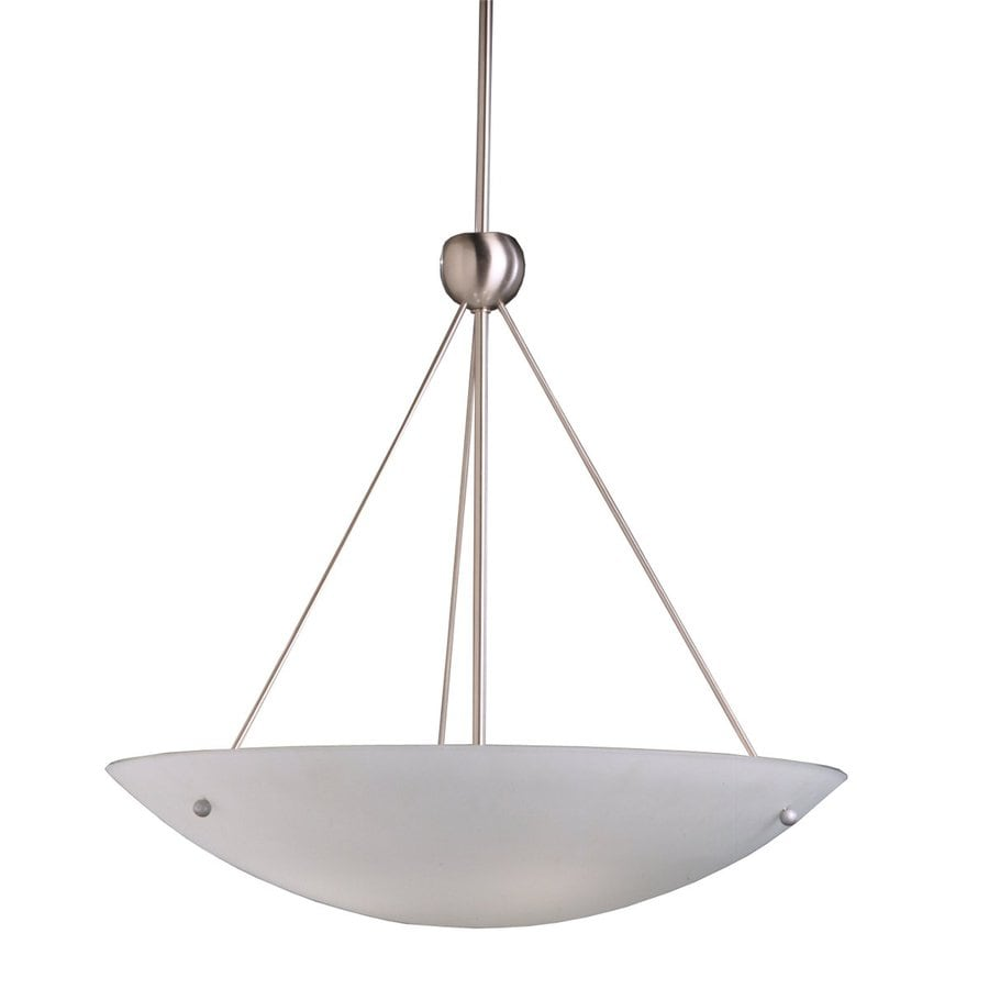 Kichler Family Space 26-in Brushed Nickel Industrial Hardwired Single Etched Glass Bowl Pendant