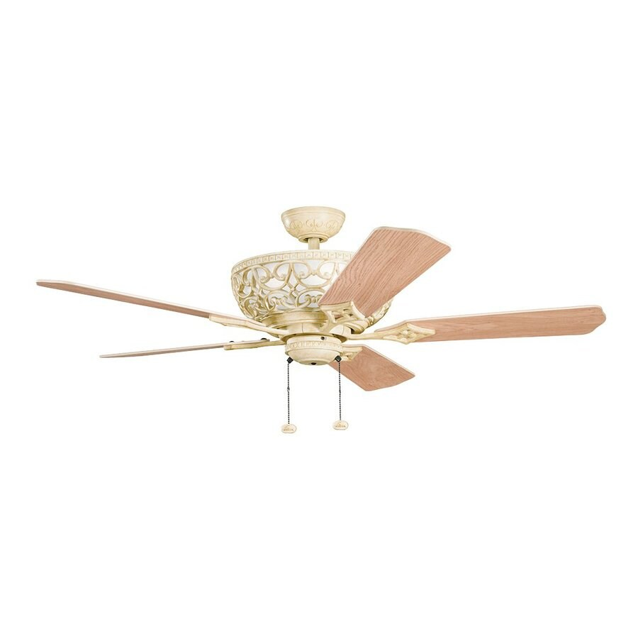 Kichler Cortez 52-in Aged White Downrod Mount Indoor Residential Ceiling Fan (5-Blade)
