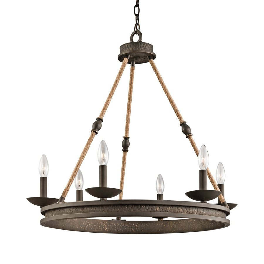 Kichler Lighting Kearn 26-in 6-Light Olde Bronze Wrought Iron Candle Chandelier