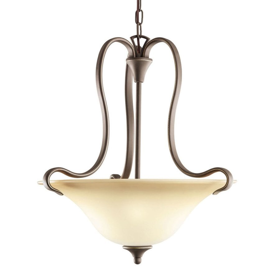 Kichler Lighting Wedgeport 19.25-in Olde Bronze Hardwired Single Etched Glass Bowl Pendant