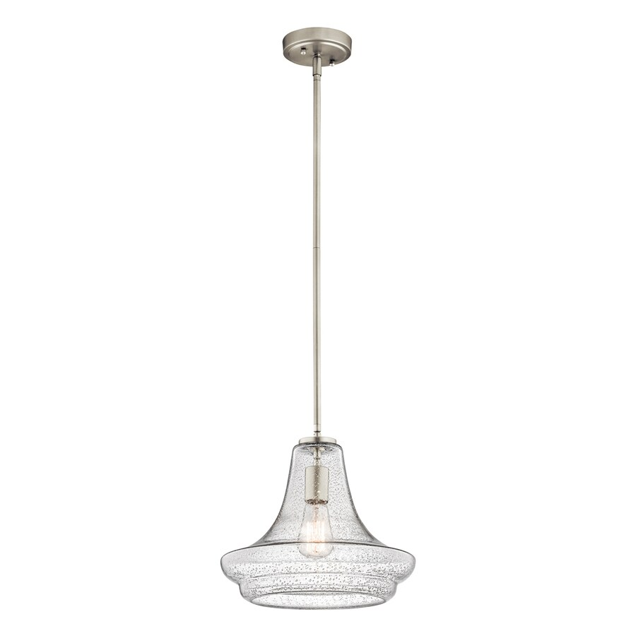Kichler Everly 12.5-in Brushed Nickel Vintage Single Seeded Glass Schoolhouse Pendant