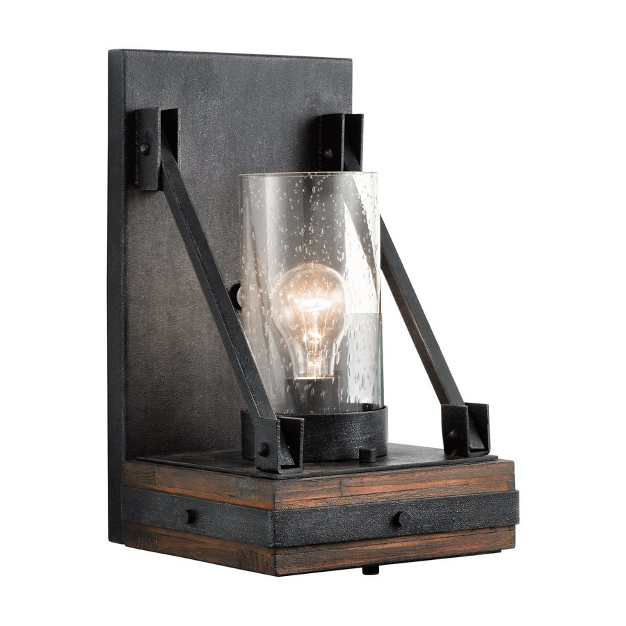 Black Rustic Wall Lights : Shop Kichler Colerne 8-in W 1-Light Auburn Pocket Wall Sconce at Lowes.com