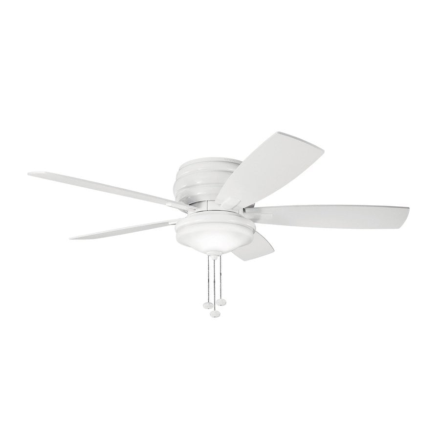 Kichler Lighting Windham 52-in White Flush Mount Indoor Ceiling Fan with Light Kit (5-Blade)
