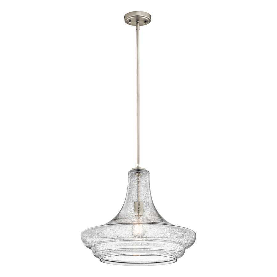 Kichler Everly 19-in Brushed Nickel Vintage Single Seeded Glass Schoolhouse Pendant