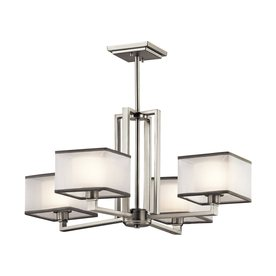 Kichler Kailey 25 In 4 Light Brushed Nickel Shaded Chandelier