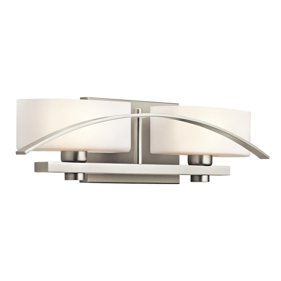 Kichler Suspension 2-Light 5-in Brushed Nickel Rectangle Vanity Light