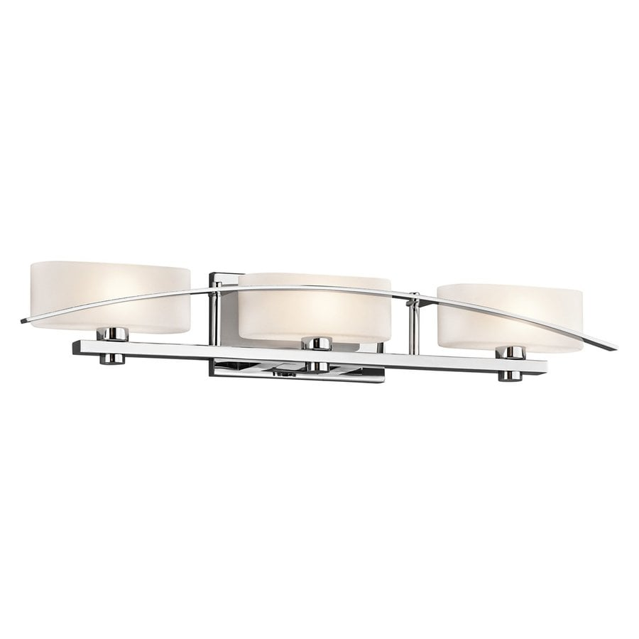 bathroom vanity lighting pictures shop kichler suspension 3 light 30 25 in chrome rectangle 17008