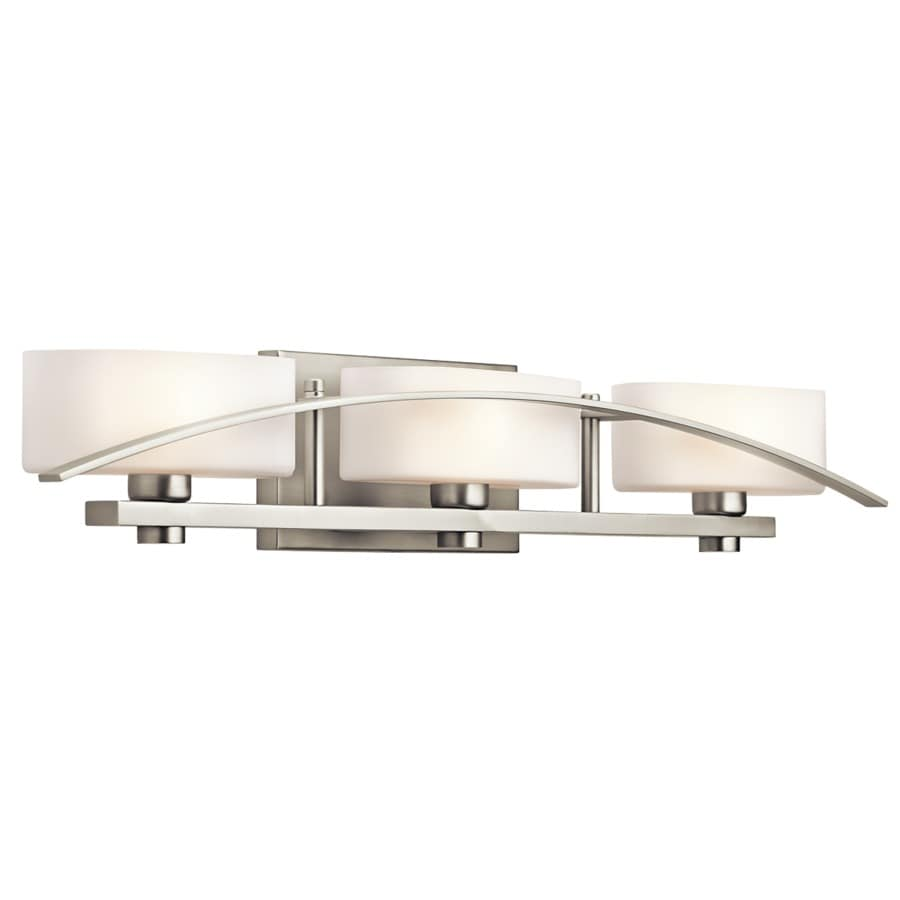 Bathroom Vanity Lights Kichler shop kichler suspension 3-light 5-in brushed nickel rectangle