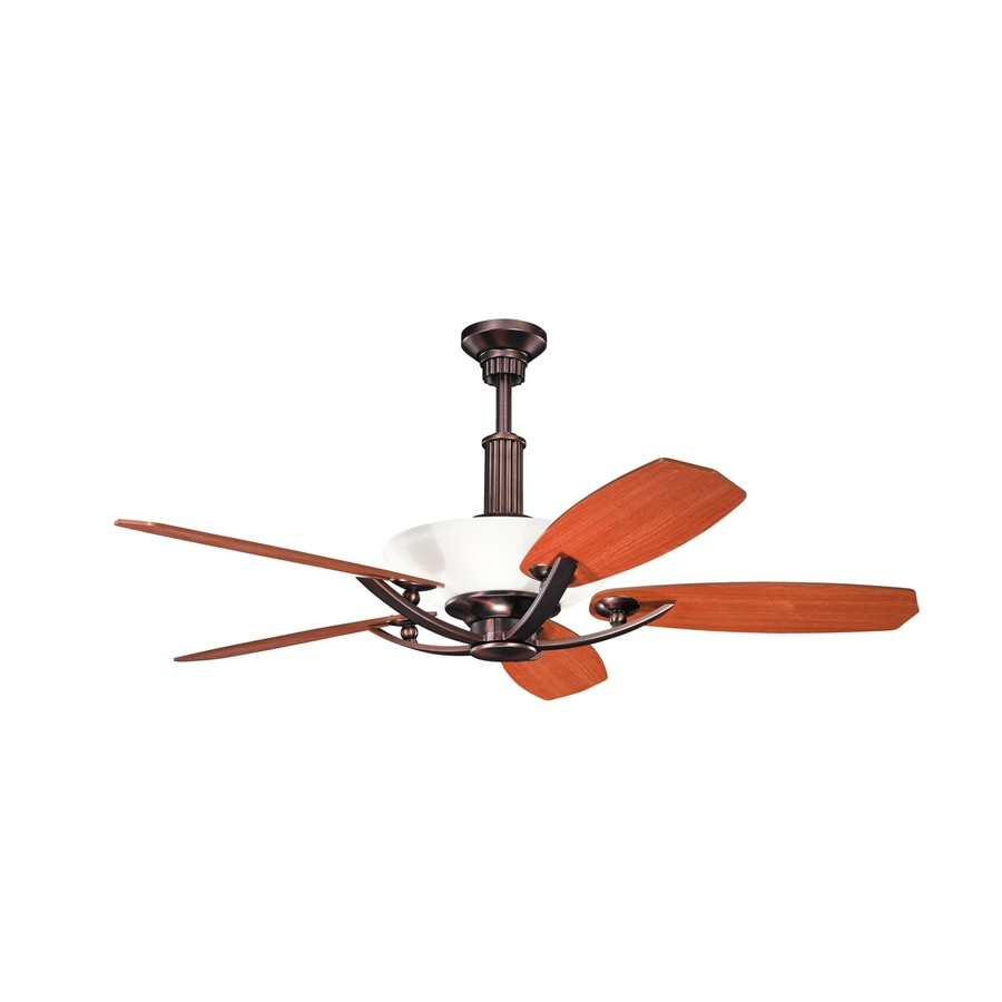 Kichler Palla 56-in Oil Brushed Bronze Downrod Mount Indoor Residential Ceiling Fan with Light Kit and Remote (5-Blade)