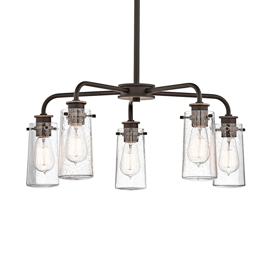 Kichler Lighting Braelyn 25-in 5-Light Olde Bronze Industrial Seeded Glass  Shaded Chandelier