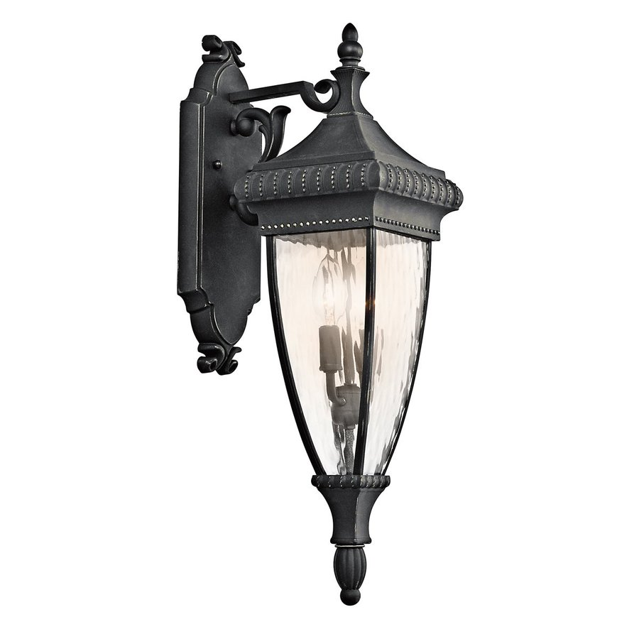 Kichler Venetian Rain 25.25-in H Black with Gold Outdoor Wall Light