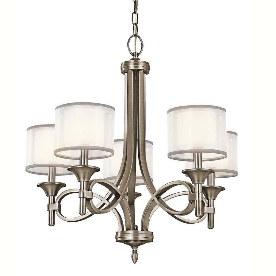 Kichler Lighting Lacey 25-in 5-Light Antique Pewter Vintage Etched Glass Shaded Chandelier