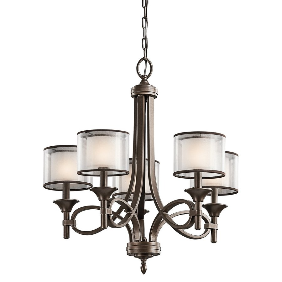Kichler Lighting Lacey 25-in 5-Light Mission Bronze Vintage Etched Glass Shaded Chandelier