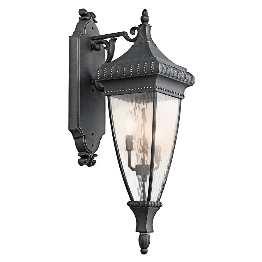 Kichler Venetian Rain 31-in H Black with Gold Outdoor Wall Light