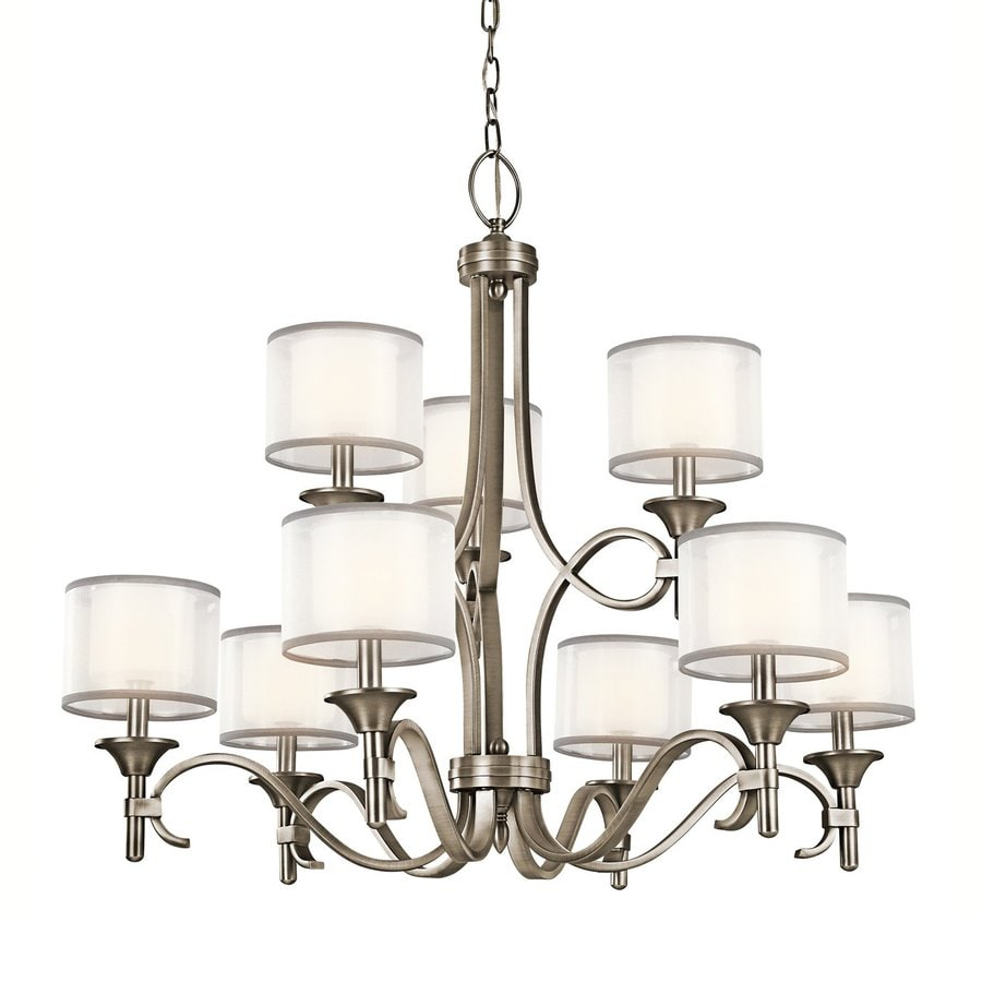 Kichler Lighting Lacey 34.25-in 9-Light Antique Pewter Vintage Etched Glass Tiered Chandelier