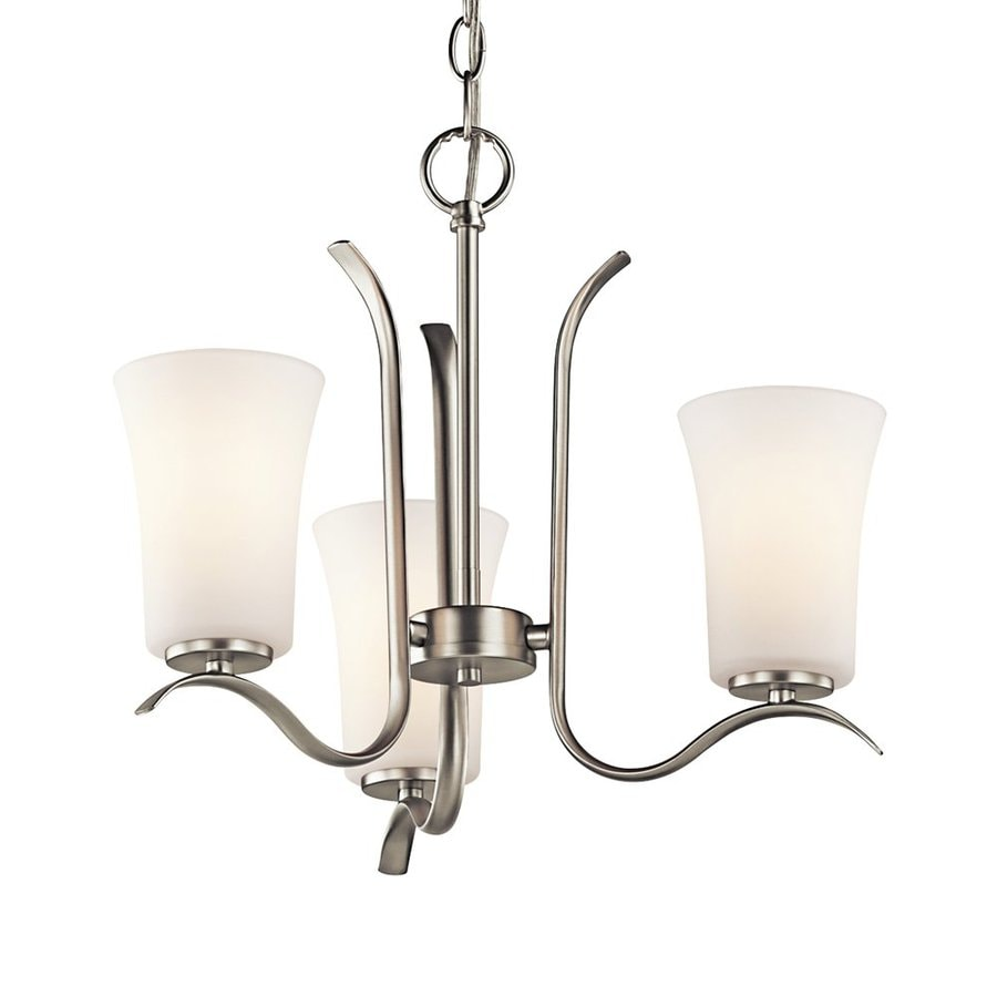 Kichler Armida 18-in 3-Light Brushed Nickel Etched Glass Shaded Chandelier