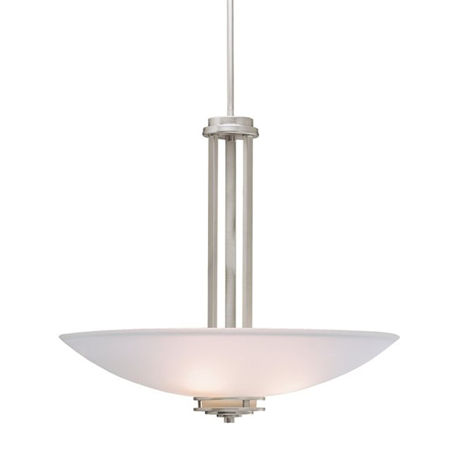 Kichler Hendrik 24-in Brushed Nickel Hardwired Single Etched Glass Bowl Pendant