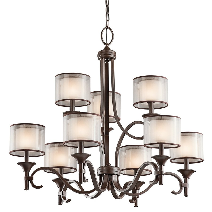 Kichler Lacey 34.25-in 9-Light Mission bronze Vintage Etched Glass Tiered Chandelier
