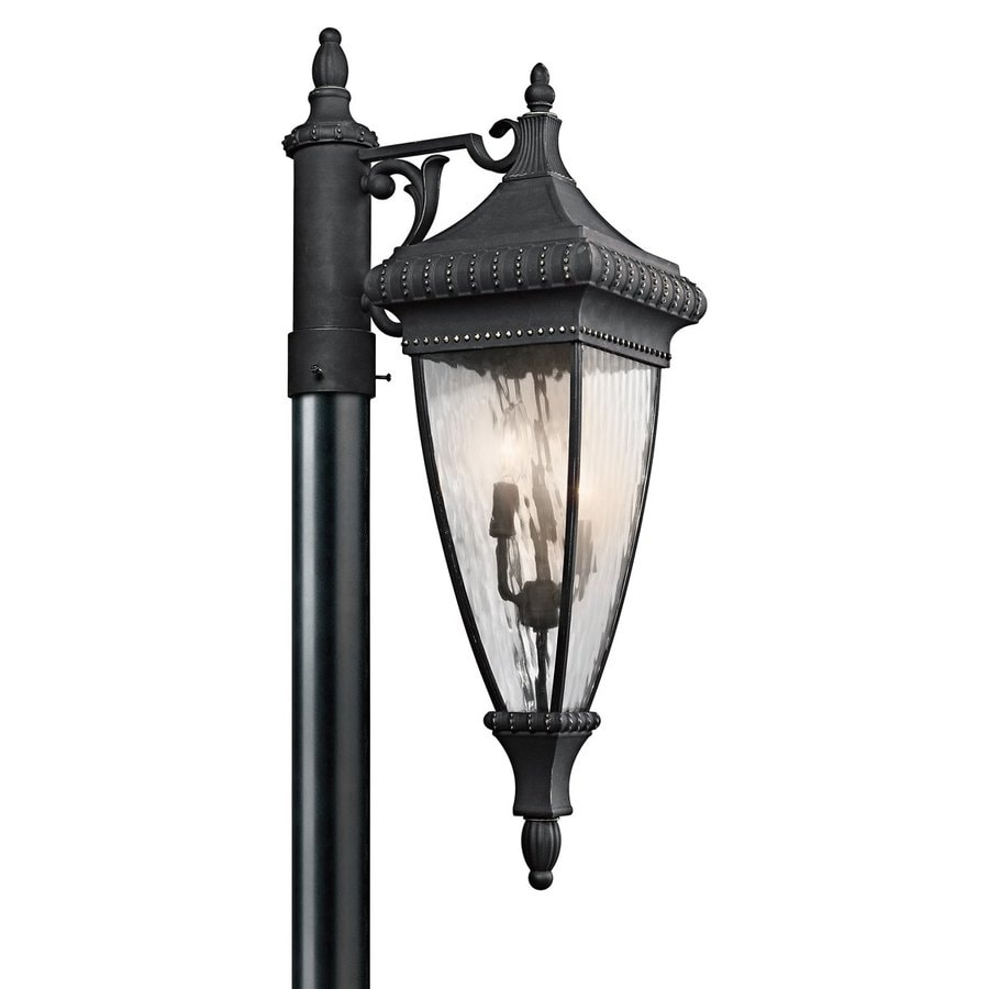 Kichler Lighting Venetian Rain 32.5-in H Black with Gold Accents Post Light