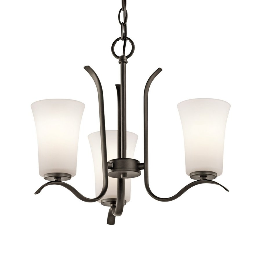 Kichler Armida 18-in 3-Light Olde Bronze Hardwired Etched Glass Shaded Chandelier