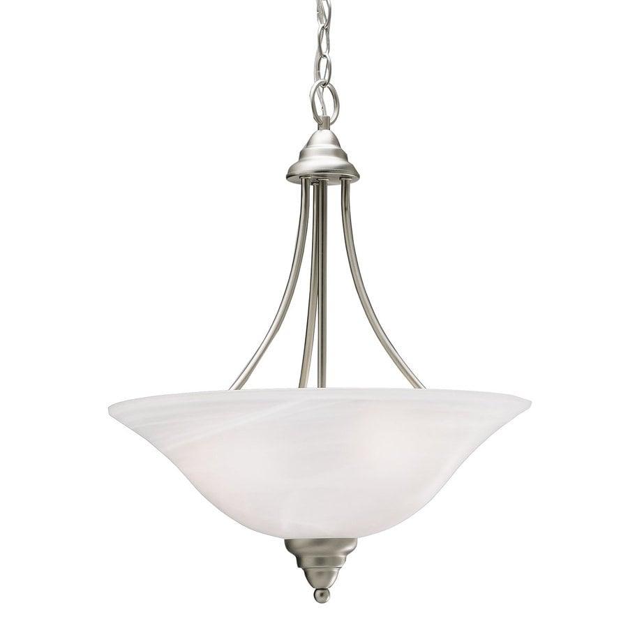 Kichler Lighting Telford 17.5-in Brushed Nickel Hardwired Single Alabaster Glass Bowl Pendant