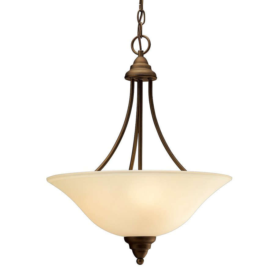 Kichler Telford 17.5-in Olde Bronze Vintage Hardwired Single Etched Glass Bowl Pendant