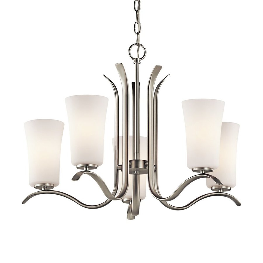 Kichler Armida 25.25-in 5-Light Brushed nickel Etched Glass Shaded Chandelier