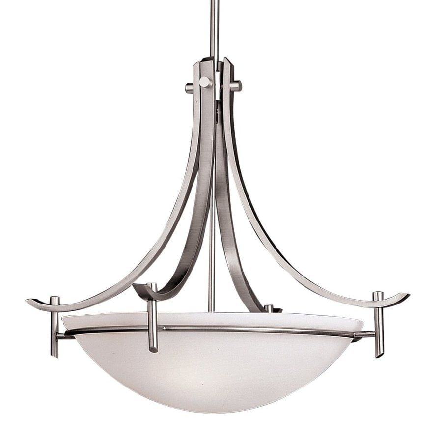 Kichler Lighting Olympia 24-in Antique Pewter Hardwired Single Etched Glass Bowl Pendant