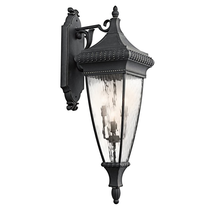 Kichler Venetian Rain 37-in H Black with Gold Outdoor Wall Light